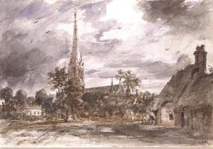 John Constable - Salisbury Cathedral: with cottages