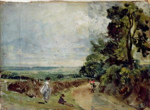 John Constable - A Country road with trees and figures