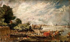 John Constable - Waterloo Bridge from above Whitehall Stairs, c.1819