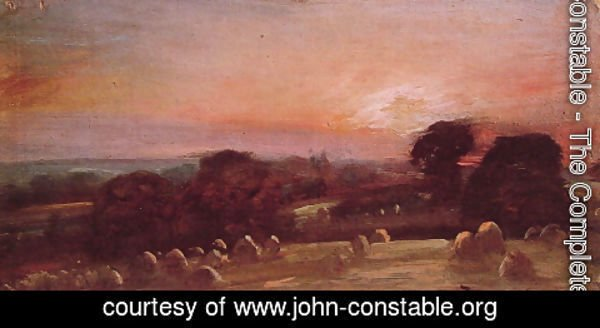 John Constable - A Hayfield near East Bergholt at Sunset