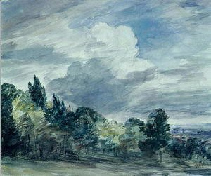 John Constable - View over a wide landscape, with trees in the foreground, September 1832