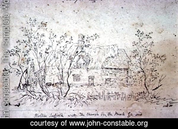 John Constable - Cottage at East Bergholt, with a well