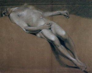 John Constable - Study of a recumbent male nude