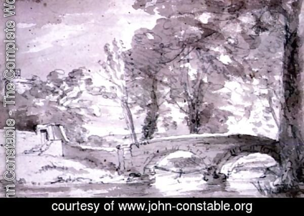 John Constable - Bridge with Trees and Buildings, at Haddon