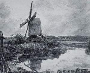 John Constable - A mill on the banks of the River Stour
