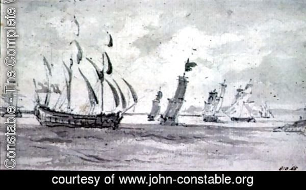 John Constable - Shipping in a Breeze in the Thames or Medway