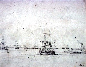 John Constable - A brig at anchor and other shipping in the Thames