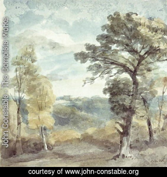 John Constable - Landscape with Trees and a Distant Mansion