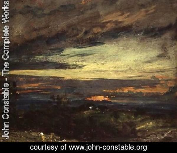John Constable - Sunset study of Hampstead, looking towards Harrow