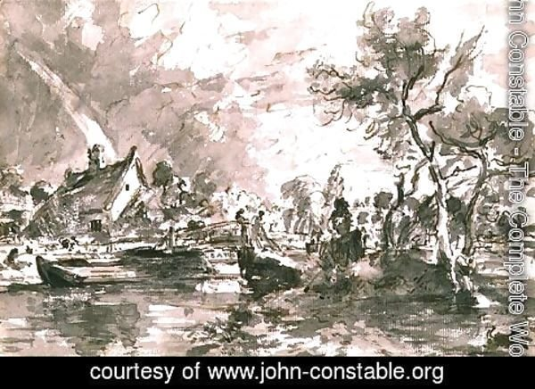 John Constable - Flatford Old Mill Cottage on the Stour, pen and wash