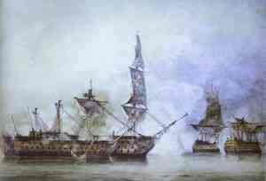 H.M.S. Victory at the Battle of Trafalgar, 1805