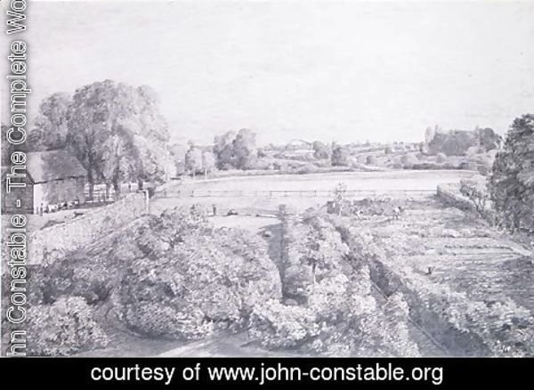 John Constable - View of East Bergholt over the kitchen garden of Golding, Constable's house