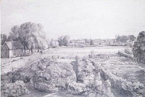 View of East Bergholt over the kitchen garden of Golding, Constable's house