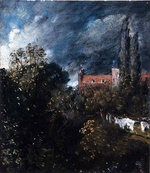 John Constable - View in a garden with a red house beyond
