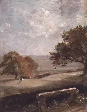 John Constable - A Park Glade  View of Dedham Church