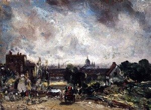John Constable - City of London from Sir Richard Steeles Cottage with the Mail Coach on the Road