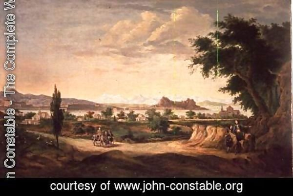 John Constable - Figures with a Donkey, Corfu in the Distance