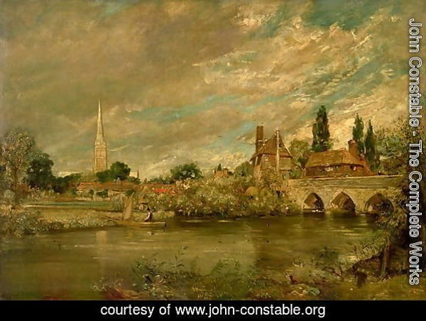 The Bridge of Harnham and Salisbury Cathedral, c.1820
