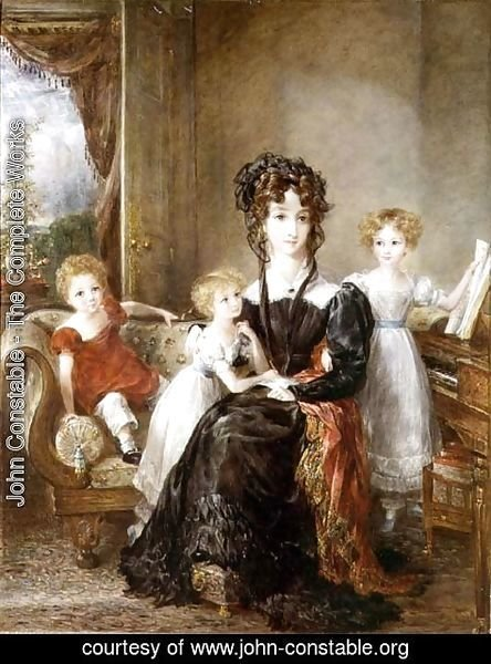 John Constable - Portrait of Elizabeth Lea and her Children, c.1828