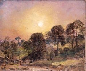 John Constable - Trees on Hampstead Heath at Sunset
