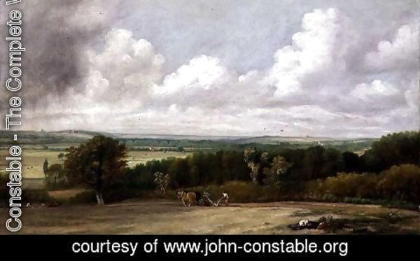 John Constable - Landscape: Ploughing Scene in Suffolk, A Summerland  1824