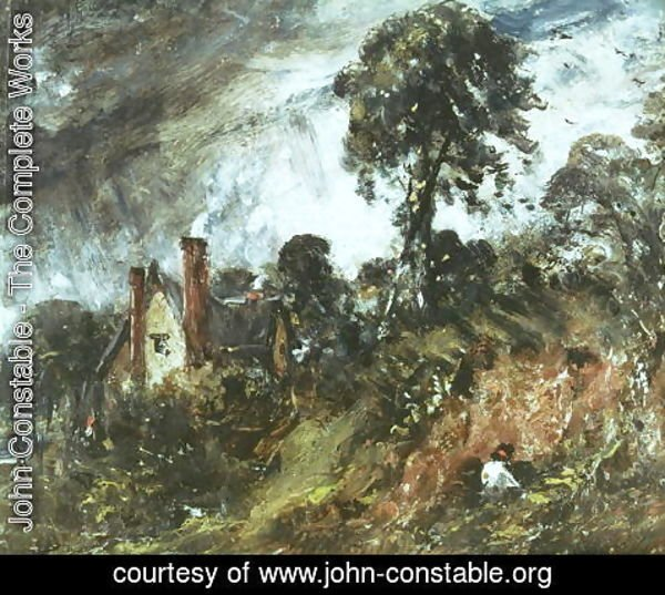 John Constable - Cottage among Trees with a Sandbank, c.1830-36