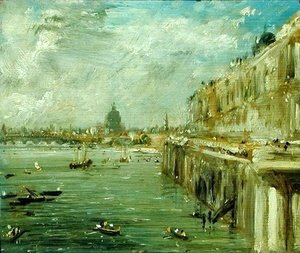John Constable - Somerset House Terrace and the Thames  A View from the North End of Waterloo Bridge with St. Paul's Cathedral in the distance