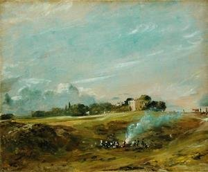 John Constable - A View of Hampstead Heath, with figures round a bonfire