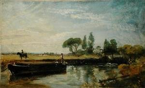 John Constable - A Barge below Flatford Lock, c.1810
