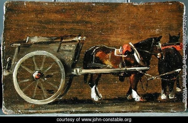 A Farm Cart with two Horses in Harness  A Study for the Cart in 'Stour Valley and Dedham Village, 1814'