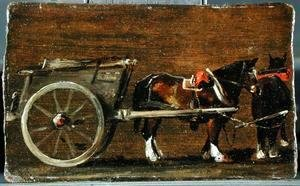 John Constable - A Farm Cart with two Horses in Harness  A Study for the Cart in 'Stour Valley and Dedham Village, 1814'