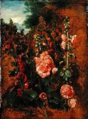 John Constable - Study of Hollyhocks, c.1826