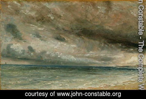 John Constable - The Coast at Brighton - Stormy Evening, c.1828