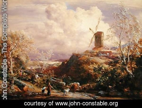 John Constable - Windmill on a Hill with Cattle Drovers