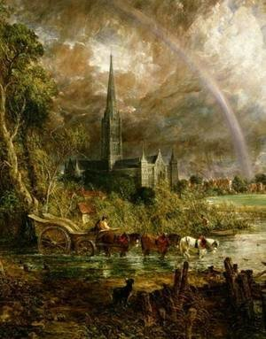 Salisbury Cathedral From the Meadows, 1831 (detail)