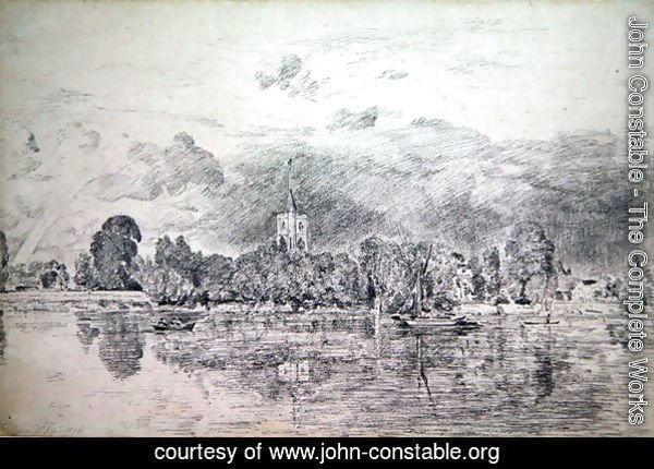 Fulham church from across the River, 1818