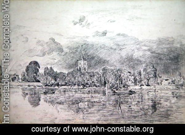 John Constable - Fulham church from across the River, 1818