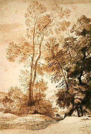 John Constable - Trees and Deer, after Claude, 1825