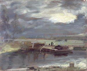 Barges on the Stour with Dedham Church in the Distance, 1811