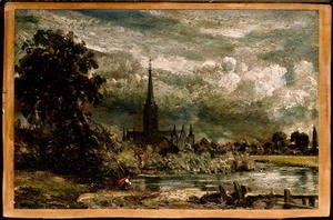 John Constable - Salisbury Cathedral from the long bridge with an angler in the foreground
