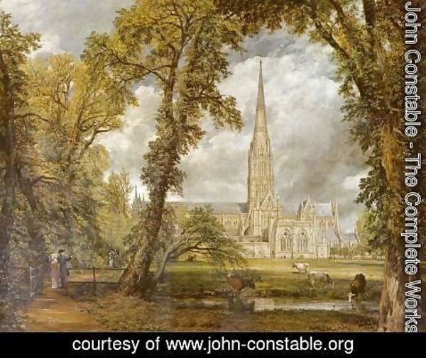 John Constable - View of Salisbury Cathedral from the Bishop's Grounds  c.1822