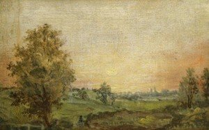 John Constable - Landscape Near Dedham at Sunset