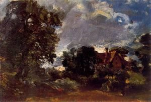 John Constable - A cottage lane at Langham (Sketch for the Glebe farm)