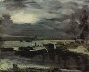 John Constable - Boats on the Stour, in the background of the Deadham church