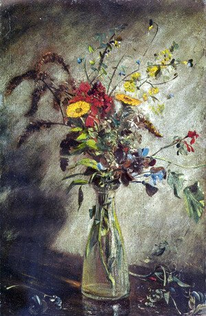 John Constable - Flowers in a Glass Vase, Study