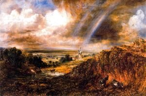 John Constable - Hampstead heath with a rainbow