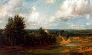 John Constable - Hampstead Heath, The house called the 'Salt box' in the distance