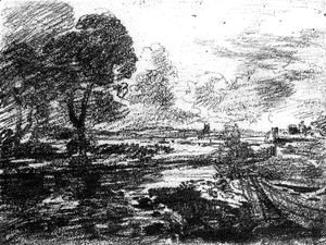 John Constable - View of a Winding River