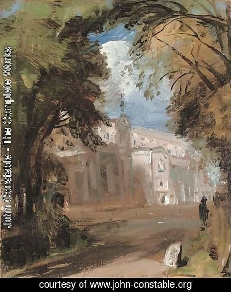 John Constable - St Mary's Church, East Bergholt, sketch