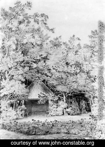A labourer approaching a thatched pavilion in a garden